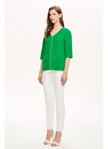 NaraMaxx Kontrast Biye Detaylı Bluz Yeşil
